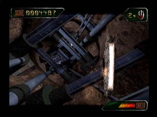 Star Wars: Rebel Assault II - The Hidden Empire PlayStation You can turn the ship on its side to slip through narrow passages.