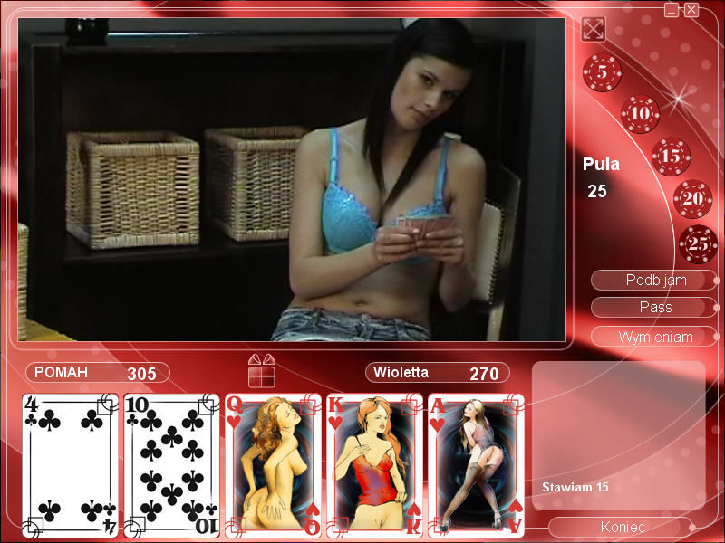 Strip Poker Exclusive 2 Windows Violetta without a blouse (in Polish)