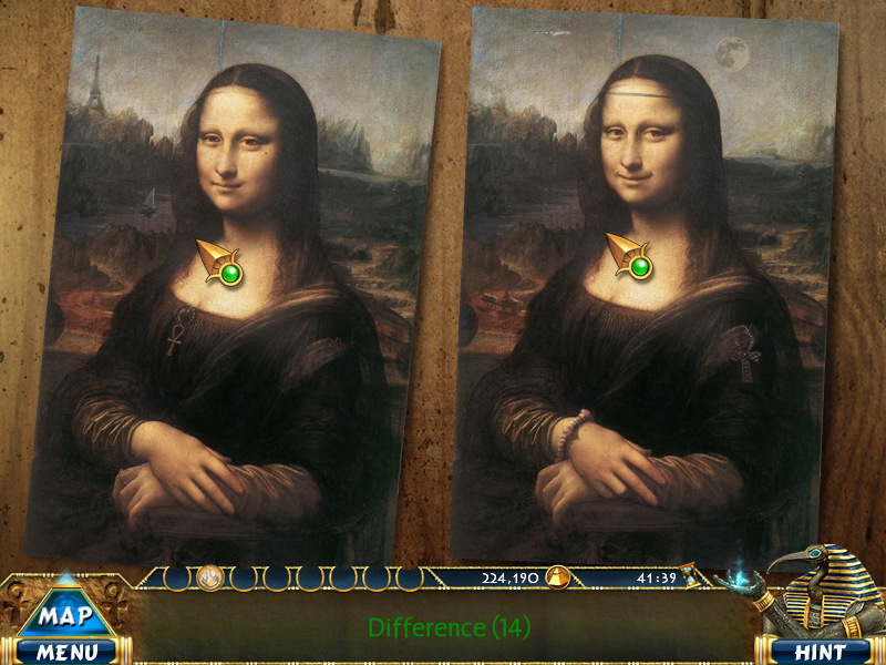 Luxor Adventures Windows Spot-the-differences game with two Mona Lisas