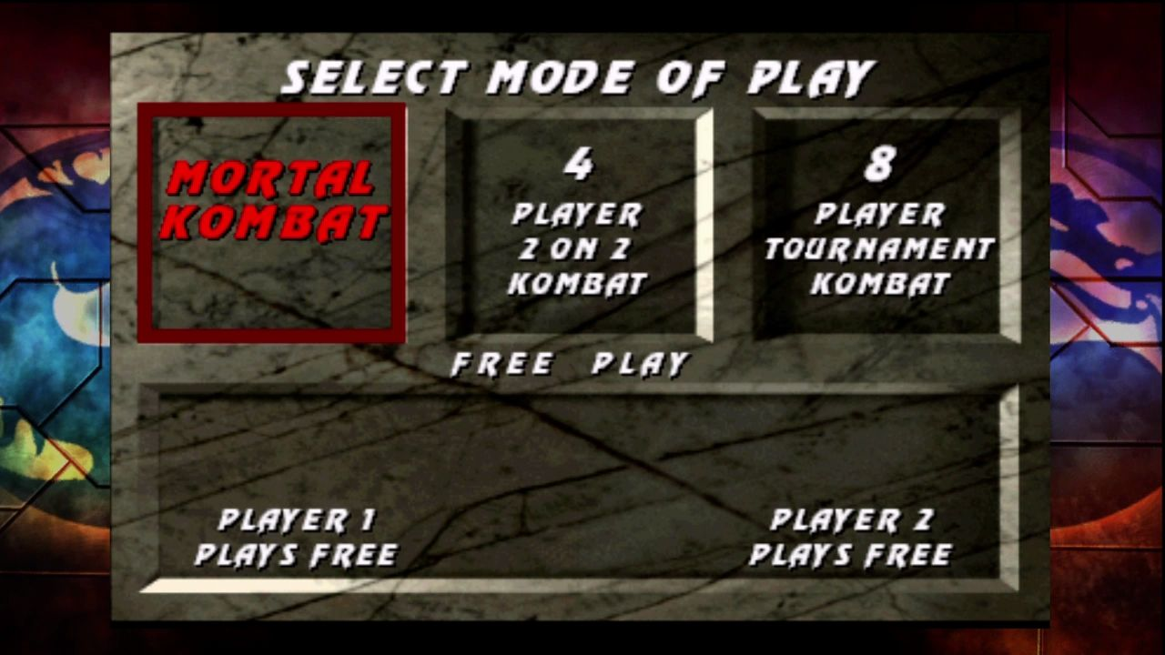 Ultimate Mortal Kombat 3 Xbox 360 Arcade game select screen