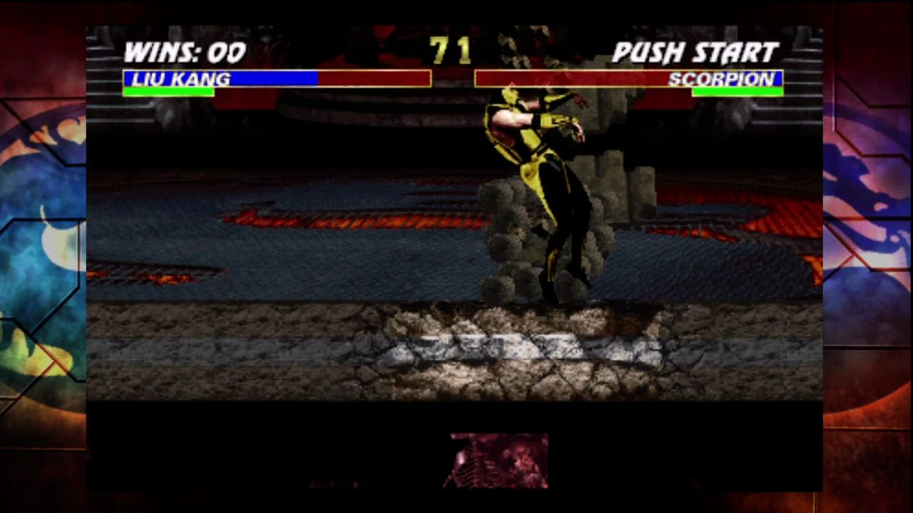 Ultimate Mortal Kombat 3 Xbox 360 Knocking Scorpion into a new part of the arena.