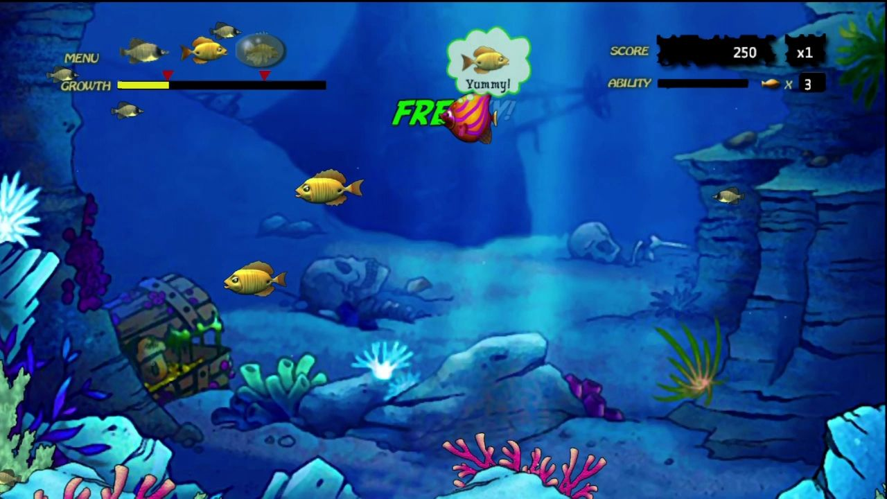 Feeding frenzy screenshots for xbox 360 mobygames for Fish eat and grow