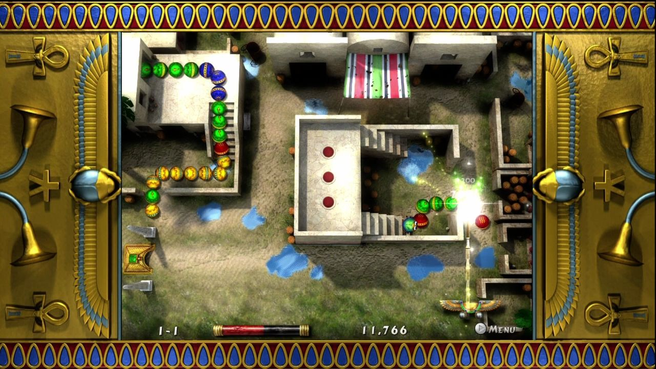 Luxor 2 Xbox 360 Xbox Arcade exclusive mode. Simply shoot the balls as they roll.