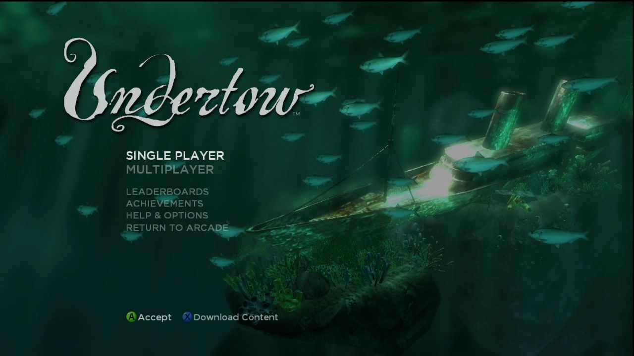 Undertow Xbox 360 Title screen.