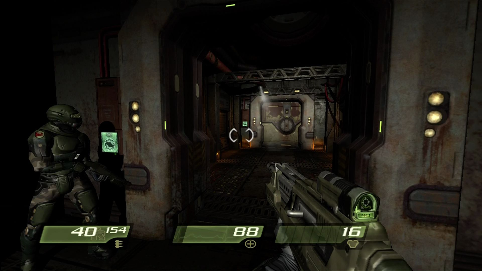 "Quake 4 Xbox 360 Unlike <moby game=""Quake 2"">Quake 2</moby>, you have backup this time!"