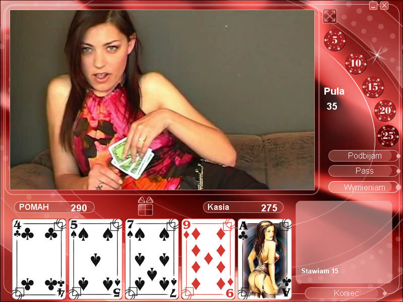 Strip Poker Exclusive 2 Windows Starting to play with Cathy (in Polish)