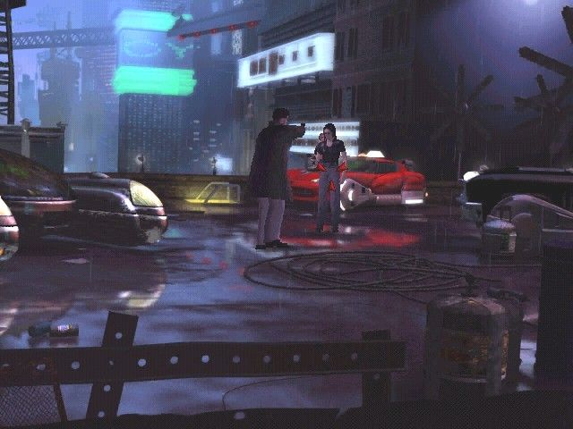 Blade Runner Windows McCoy in a shootout with his deadly rival atop the used car lot