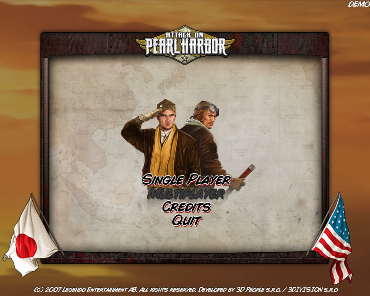 Attack on Pearl Harbor Windows Main menu (demo version)