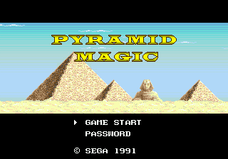 Pyramid Magic Genesis Title screen.