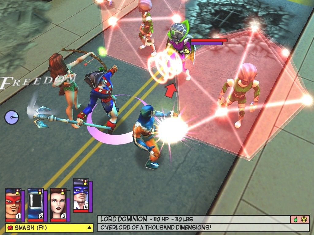 Freedom Force Windows Freedom Force faces off against Lord Dominion's elite guard. After all the build-up the game's given him, Lord Dominion turns out to be disappointly something of a wuss.
