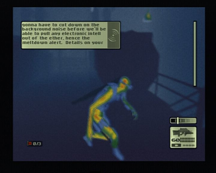 Tom Clancy's Splinter Cell PlayStation 2 Whenever the area is covered in dense smoke or fog, heat-sensor mode is preferrable.