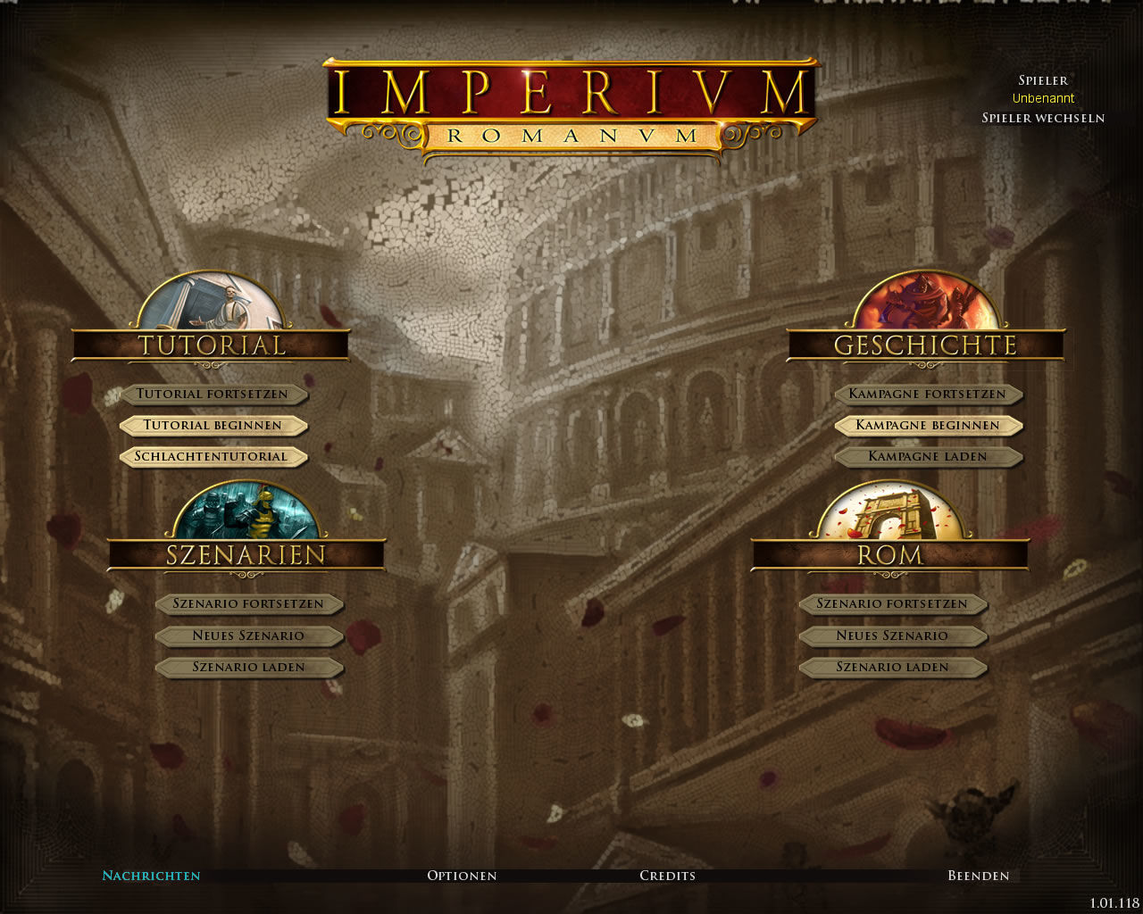 Imperium Romanum Windows Main menu (demo version)