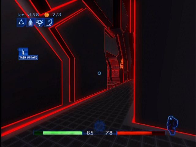 TRON 2.0 Xbox The glow effect and sharp lines mimic vector graphics.