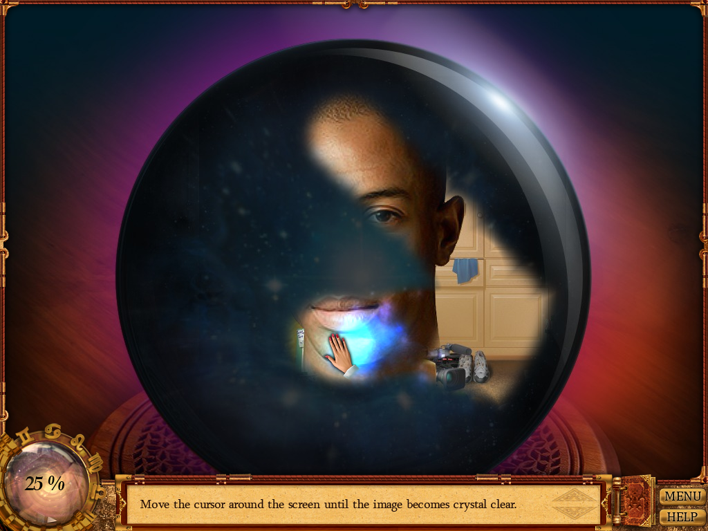 Cassandra's Journey 2: The Fifth Sun of Nostradamus Windows Wiping the crystal ball surface to reveal Michael's face.