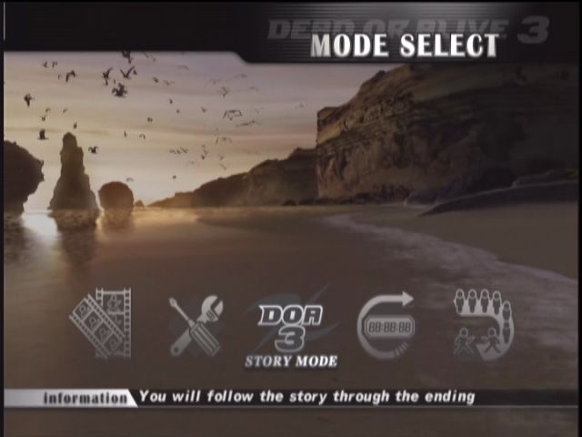 Dead or Alive 3 Xbox Main menu.
