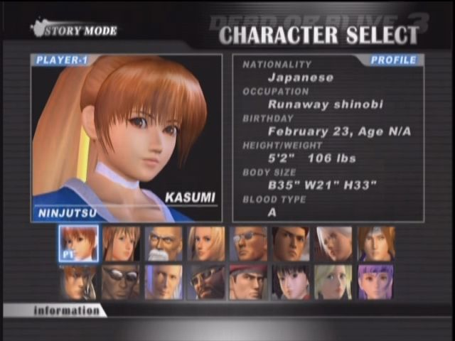 Dead or Alive 3 Xbox Character select.