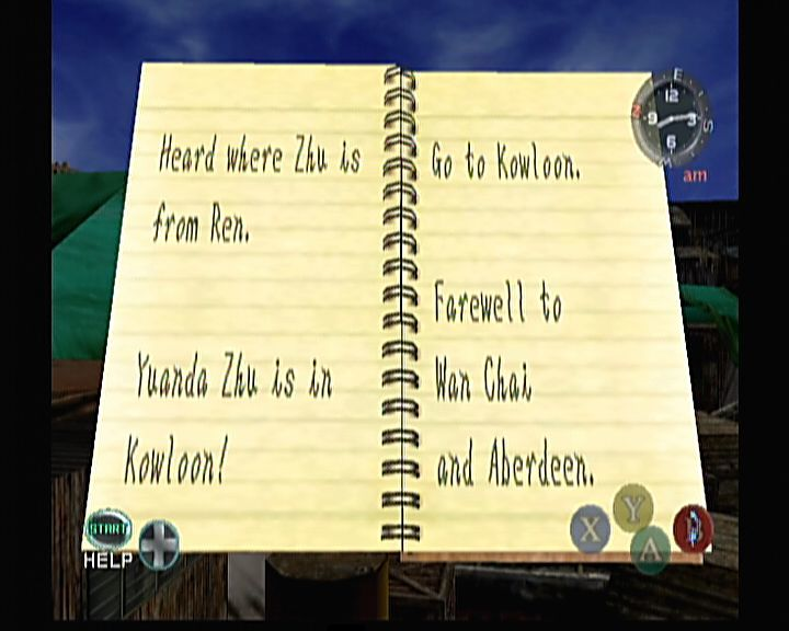 Shenmue II Xbox As in original, Ryo will still write everything in his notebook in case he forgets.