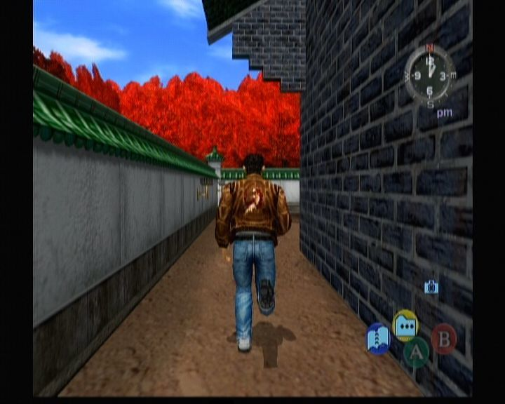 Shenmue II Xbox Ryo checking out the temple's backyard.