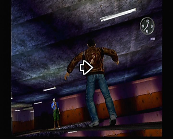 Shenmue II Xbox Shenmue II - Walking over the plank on 15th floor requires some quick reflexes and not looking down.