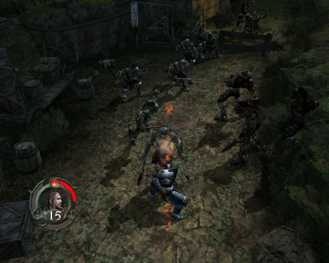 Forgotten Realms: Demon Stone Windows Killing orcs in the middle of a battlefield