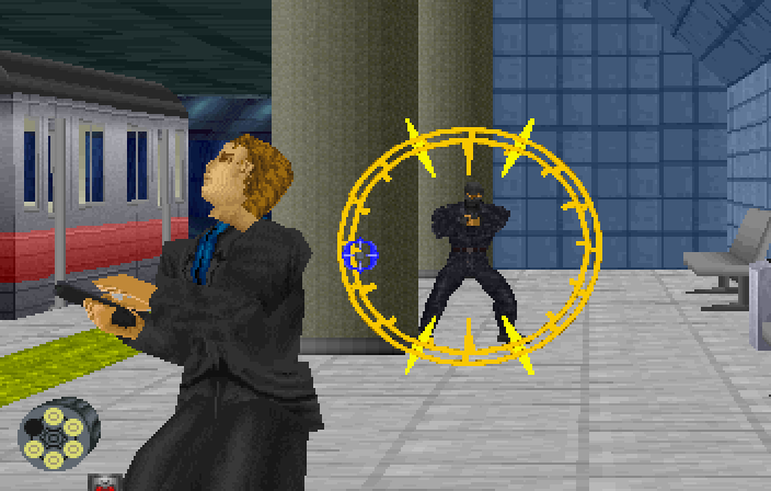 Virtua Cop 2 SEGA Saturn Facing off with a series of guys in the subway on stage 3