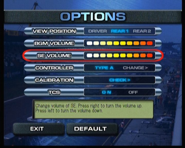 Sega GT 2002 Xbox Technical options.