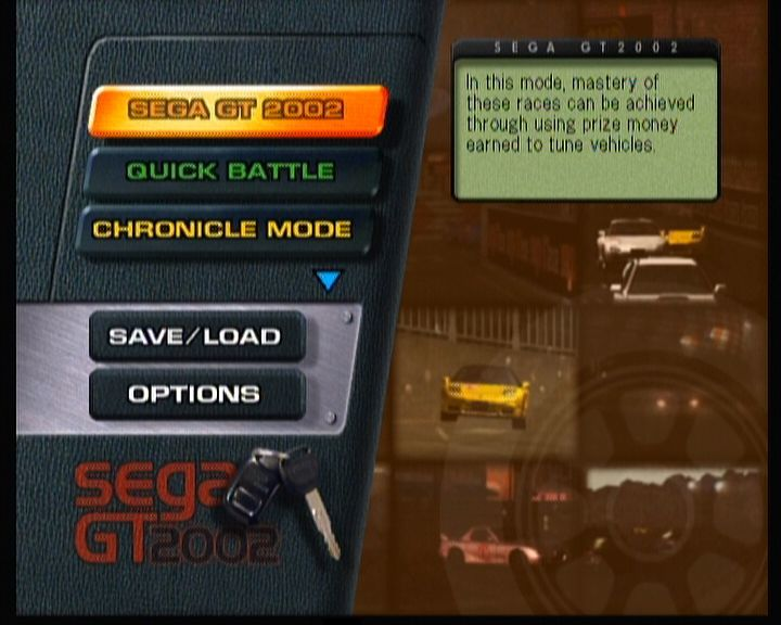 Sega GT 2002 Xbox Main Menu (and it isn't even showing all options for which you must scroll down to see)