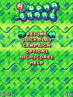 Alpha Snake J2ME Main menu