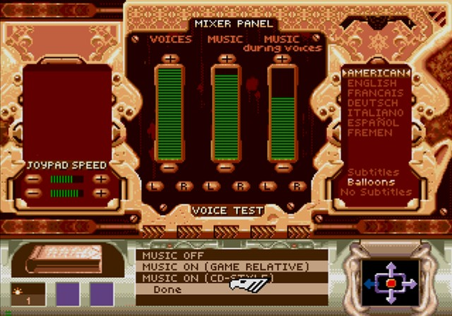 Dune SEGA CD Ingame options, looking a bit different than PC/Amiga floppy version of a game.