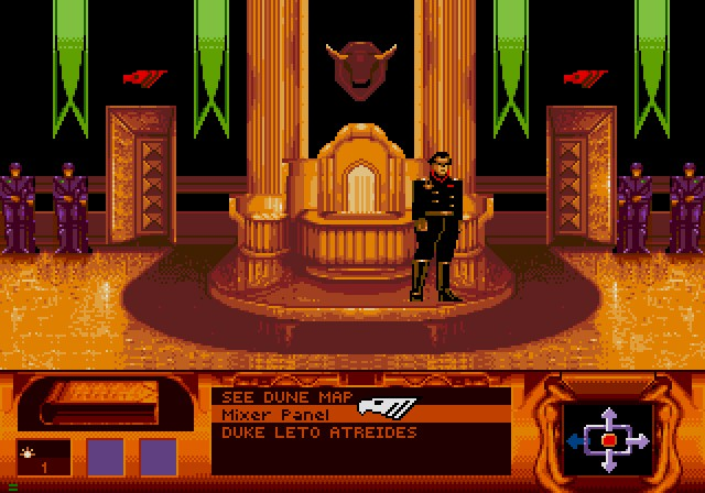Dune SEGA CD All the actions are selectable so you can't miss something in a room. You can either click on the text or on the object/person with same effect.