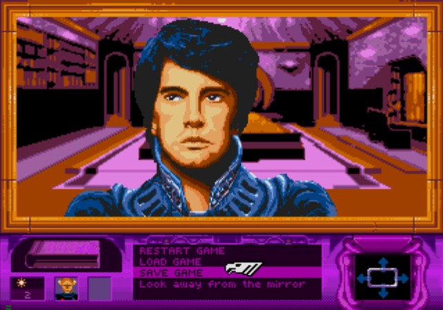 Dune SEGA CD Looking yourself in the mirror. Tsk tsk tsk, Paul still has human eyes, not much blue in 'em yet.