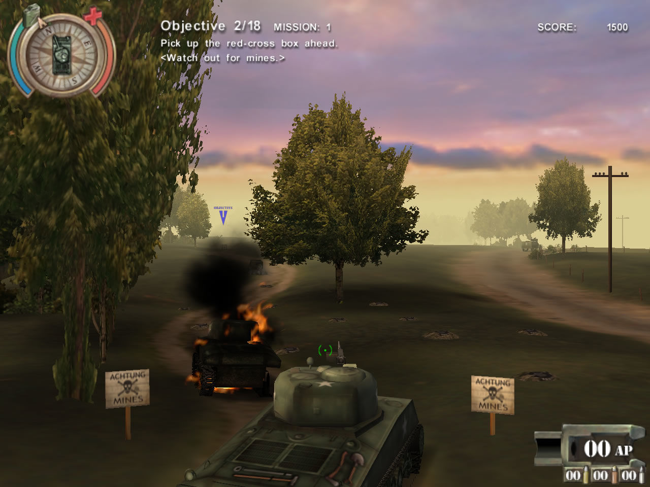 Panzer Killer! Windows The player has to avoid mines (demo version)