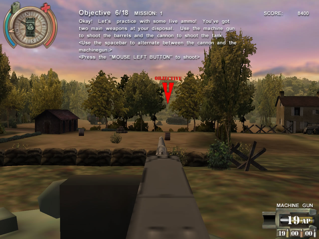 Panzer Killer! Windows The game switches to a first-person perspective when using the machine gun (demo version)