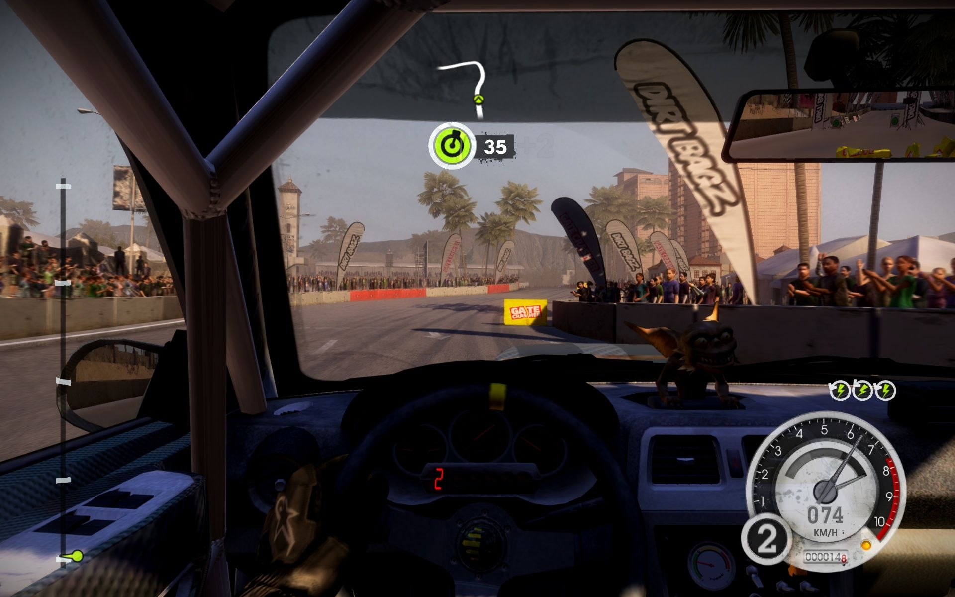 DiRT 2 Windows Gate Crasher requires you to hit those yellow things.