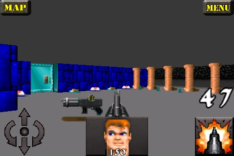 Wolfenstein 3D iPhone The start of a custom map - looks like there are many enemies ahead.