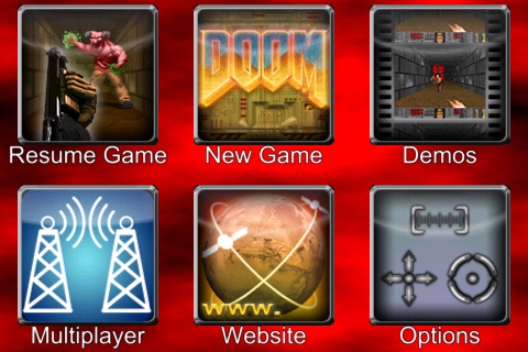 The Ultimate DOOM iPhone Main Menu