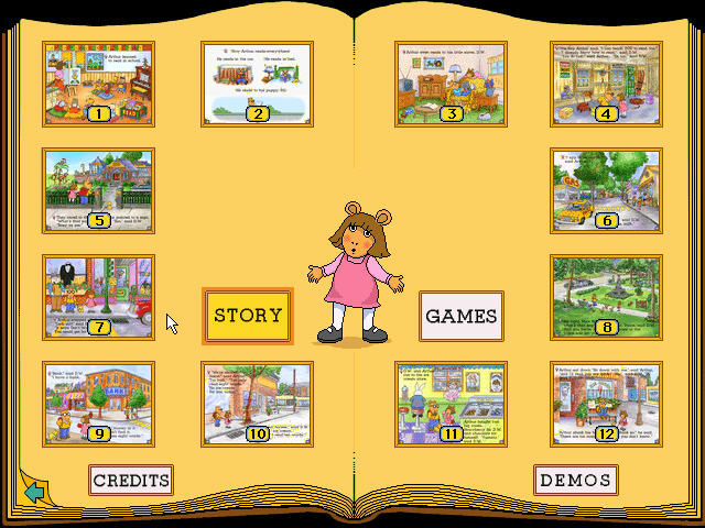 Arthur's Reading Race Windows Options menu with story pages, mini game pages, or demos