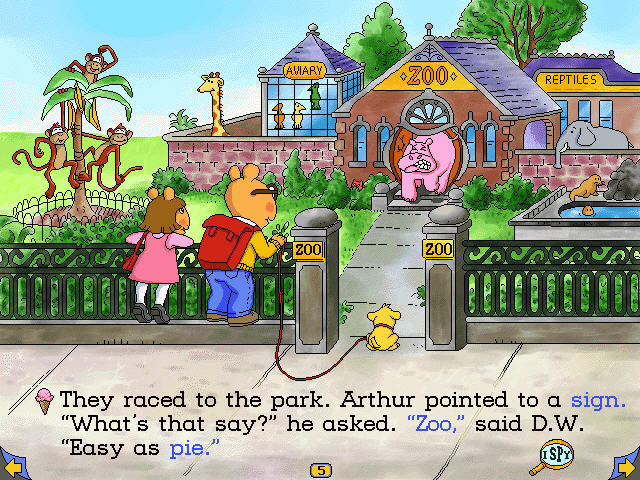 Arthur's Reading Race Windows Hidden objects like the Zoo doors shows an animation of a pink hippo