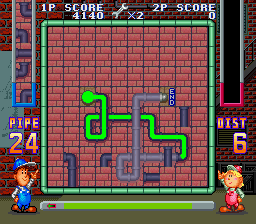Pipe Dream SNES Stage 1, distance overkill