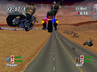Road Rash: Jailbreak PlayStation Fighting while jumping through the air.