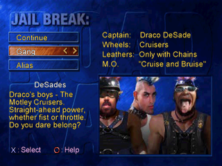 Road Rash: Jailbreak PlayStation Jail Break mode - Selecting the gang.