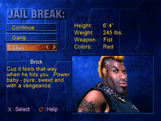 Road Rash: Jailbreak PlayStation Jail Break mode - Selecting the biker.