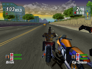 Road Rash: Jailbreak PlayStation Crashing a rival biker.