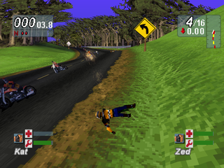 Road Rash: Jailbreak PlayStation Rolling on the grass.