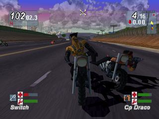 Road Rash: Jailbreak PlayStation Kicking one of the enemies.