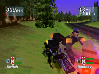 Road Rash: Jailbreak PlayStation Getting run over by the cop.