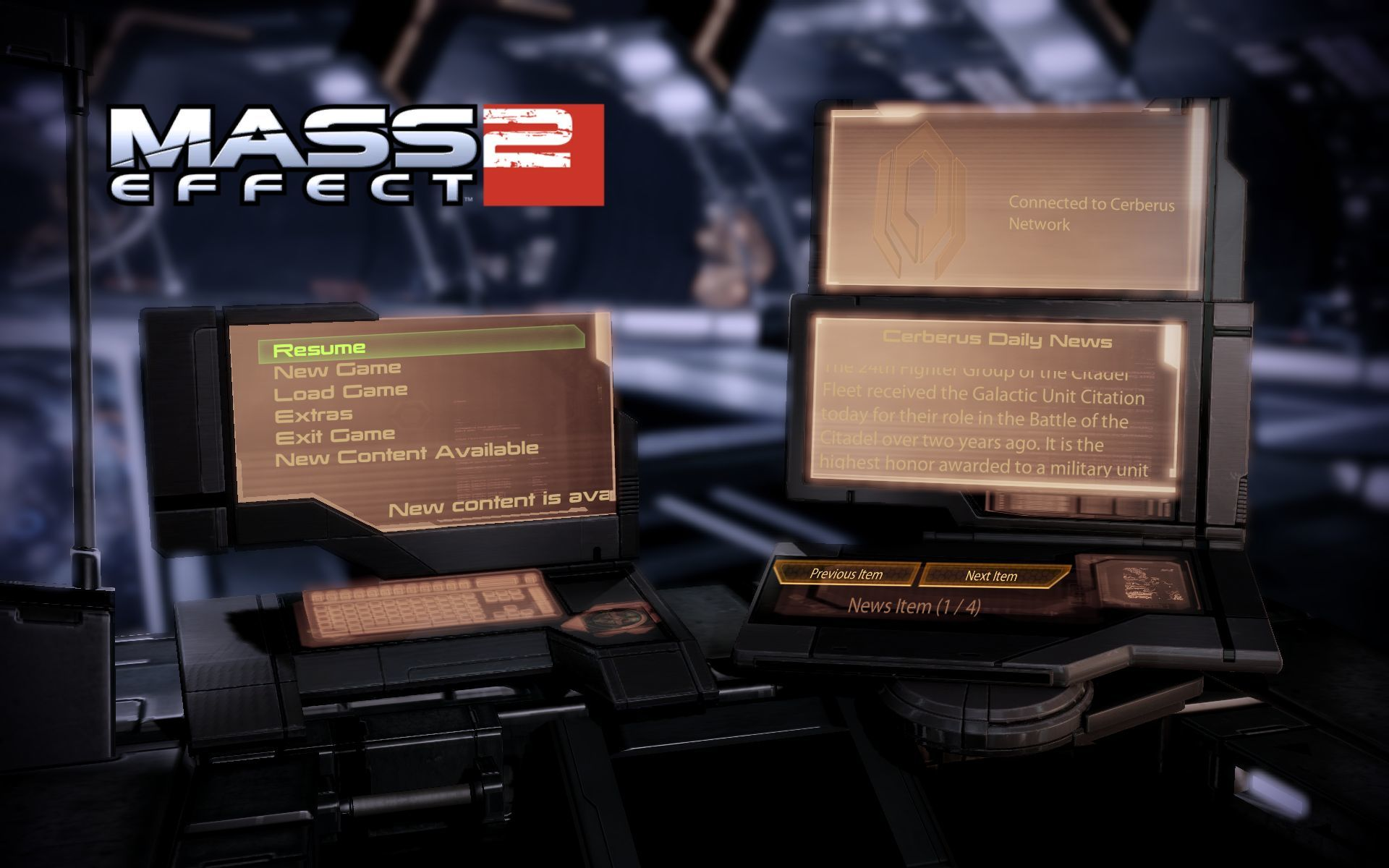 Mass Effect 2 Windows Main Menu