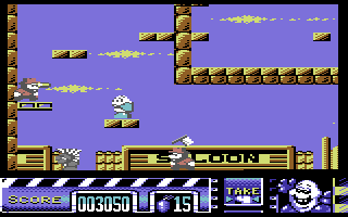 Stuntman Seymour Commodore 64 A bullet to the head and the enemy's dead.
