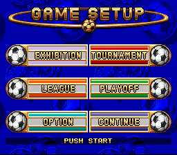 FIFA International Soccer SNES Main menu from Japanese version. Notice that the EA Sports logo in the background has been changed to the FIFA logo