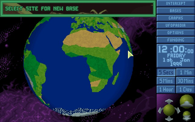 X-COM: UFO Defense Windows World map.